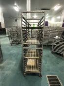 NEWAGE INDUSTRIAL (3) ALUMMINUM END LOAD 20-PAN PORTABLE SHEET/PAN RACK, 3'' SPACE (APPX $450 NEW)
