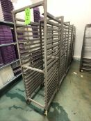 NEWAGE INDUSTRIAL (5) ALUMMINUM END LOAD 20-PAN PORTABLE SHEET/PAN RACK, 3'' SPACE (APPX $450 NEW)