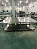 (2) S/S TABLE ON CASTERS APPX L108'' X W36'' (LOAD & RIG FEE $125.00 - OPTIONAL PALLETIZING,