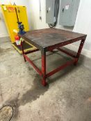MACHINE SHOP TABLE WITH VICE (LOAD & RIG FEE $5.00 - OPTIONAL PALLETIZING, SKIDDING OR CRATING