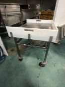 S/S TABLE PORTABLE/MOUNTED ON CASTERS, WITH UMHW CUTTING BOARD GUARDS (3 SIDES) , APPX DIM. LWH'' 38