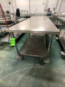 S/S TABLE PORTABLE / MOUNTED ON CASTERS WITH BOTTOM SHELF, APPX DIM. LWH'' 108 X 36 X 36 (LOAD & RIG