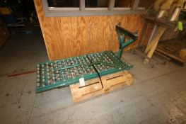 """2-Sections of Roller Conveyor, Aprox. 67"""" L x 22"""" W, Mounted with Portable Leg Frames"""