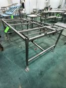 S/S TABLE/BASE, NO TOP, APPX DIM. LWH'' 72 X 48 X 28 (LOAD & RIG FEE $100.00 - OPTIONAL PALLETIZING,