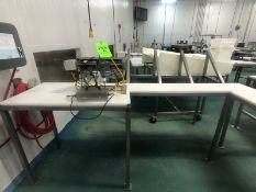 S/S AUTOMATIC FRUIT PEELER, MOUNTED ON S/S TABLE WITH CUTTING BOARD TOP, WITH MURO POWER SUPPLY,