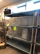 CAMBRO AND OTHER FOOD STORAGE CONTAINERS (MOST WITH GRADATIONS), VARIOUS SIZES, CLEAR SQUARE AND