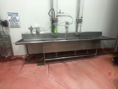 "3-BOWL S/S SINK AND COUNTERTOP, APPROX. 154'' L X 32"" X 37'' (LOAD & RIG FEE $250.00 - OPTIONAL"