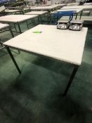 S/S TABLE WITH UMHW CUTTING BOARD TOP, APPX DIM. LWH'' 48 X 48 X 34 (LOAD & RIG FEE $50.00 -