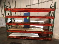 8 FT TALL PALLET RACKING WITH 5 SHELVES AND WIRE RACK (LOAD & RIG FEE $200.00 - OPTIONAL