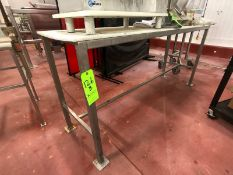 "S/S TABLE WITH CUTTING BOARD TOP, APPROX. 78"" L X 22"" W X 36"" H (LOAD & RIG FEE $50.00 - OPTIONAL"