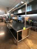 FSF S/S WORK TABLE AND OVERSHELF W/ POWER OUTLETS AND POT RACKS (LOAD & RIG FEE $375.00 - OPTIONAL
