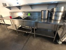 2-BOWL S/S SINK APPX LWH 10' x 2'6'' x 3' W/ EDLUND CAN OPENER (LOAD & RIG FEE $275.00 - OPTIONAL