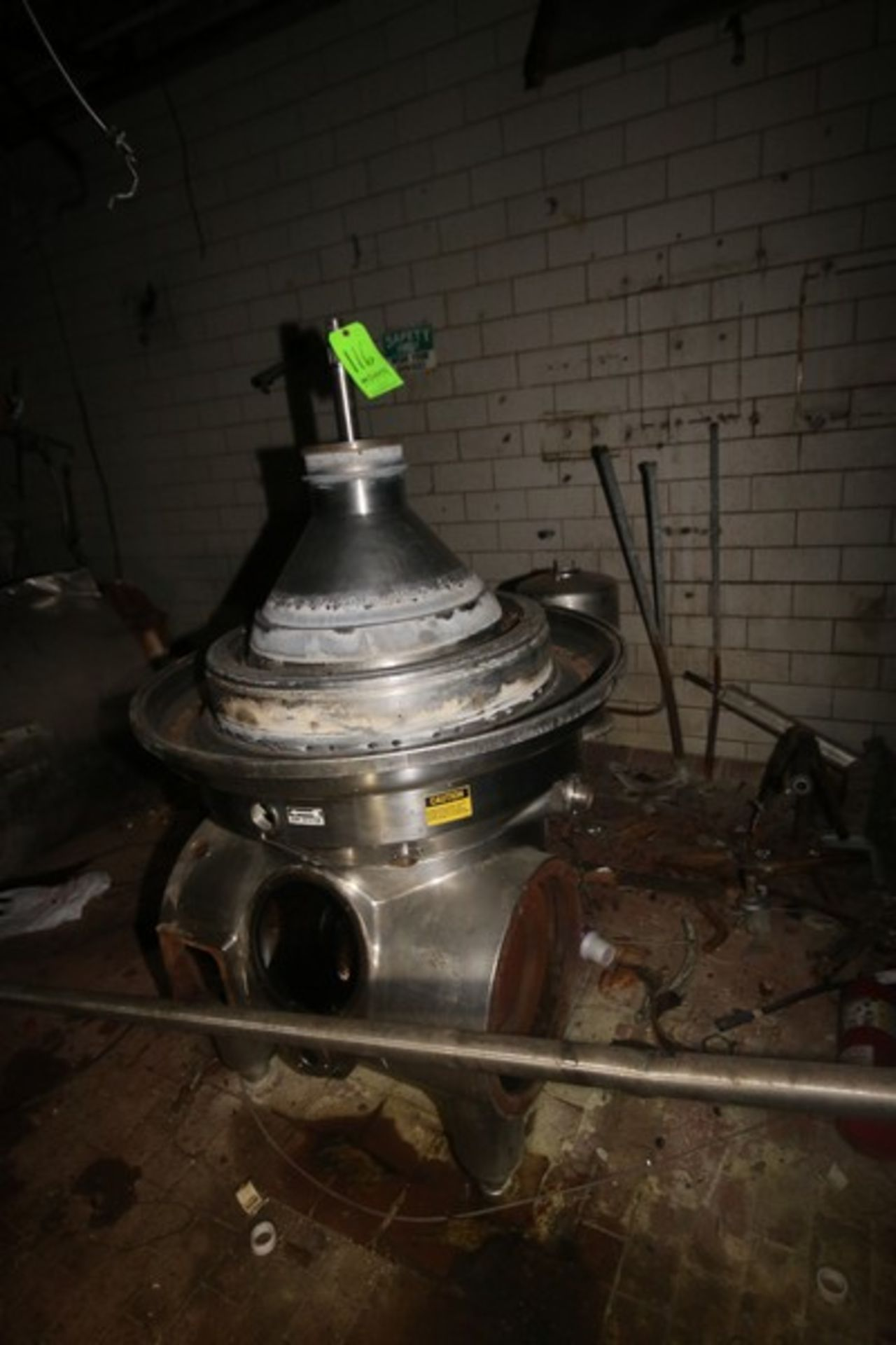Westfalia Separator, with S/S Bowl, Bowl S/N 1644416 (NOTE: Parts Machine--See Photographs) (LOCATED