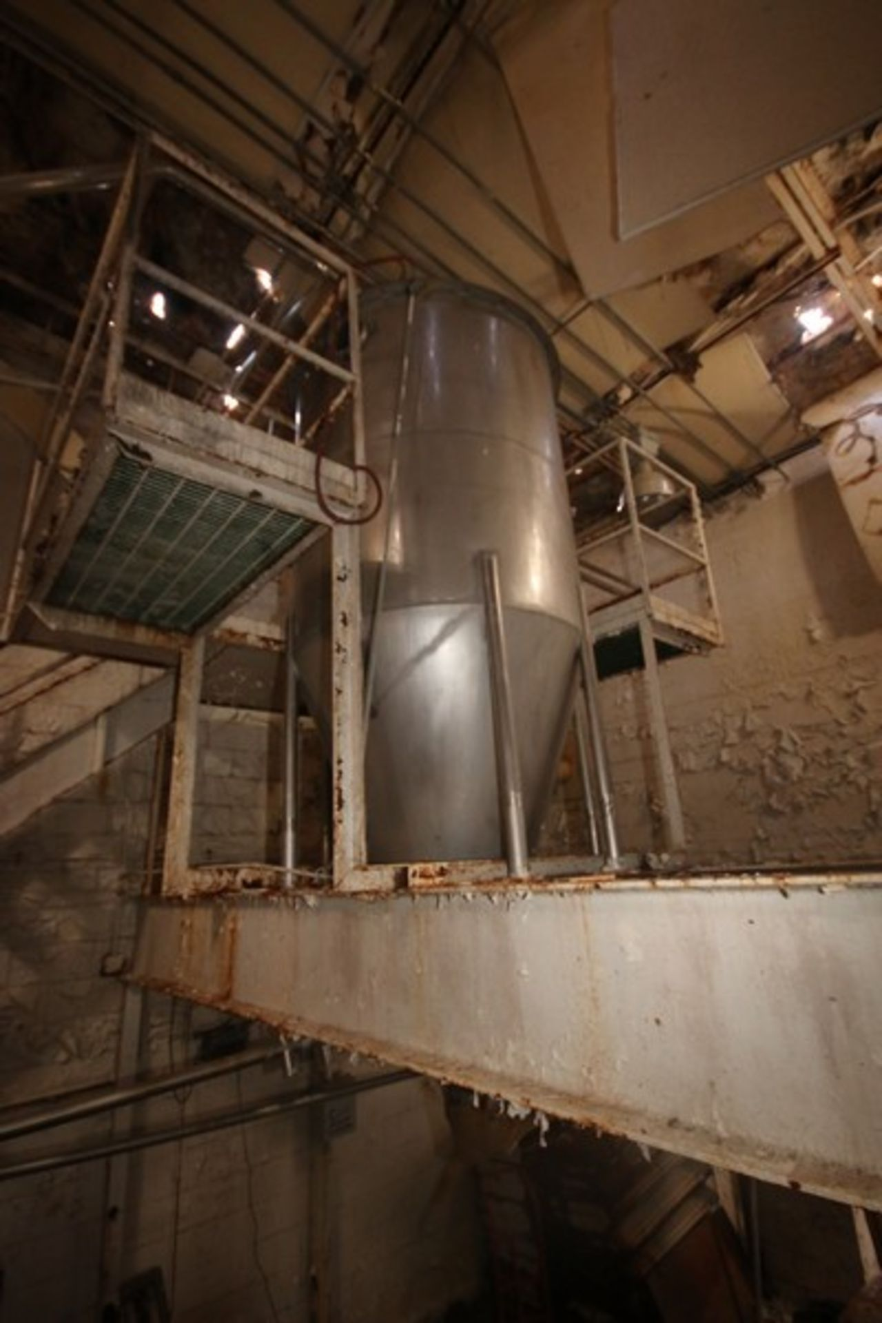 "S/S Cone Bottom Feeder, Cone Dims.: Aprox. 48"" Diameter x 62"" H Straight Side (LOCATED IN Muenster,"