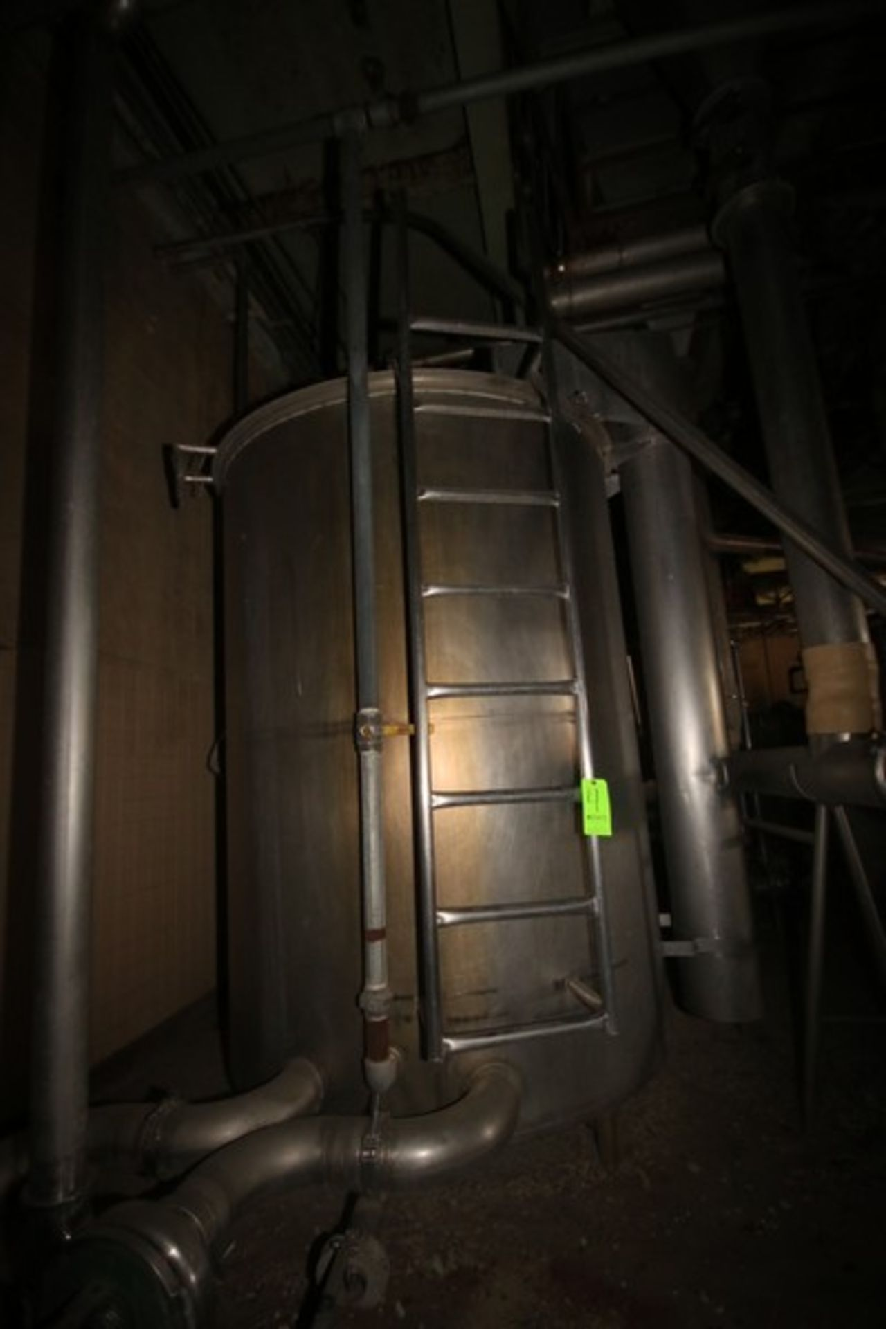 "Aprox. 1,500 Gal. S/S Single Wall Storage Tank, Tank Dims.: Aprox. 72"" Diameter x 92"" Straight Side, - Image 4 of 7"