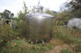 "Aprox. 2,300 Gal. S/S Processor, Tank Dims.: Aprox. 8' Diameter x 76"" Straight Side, Dish Top,"