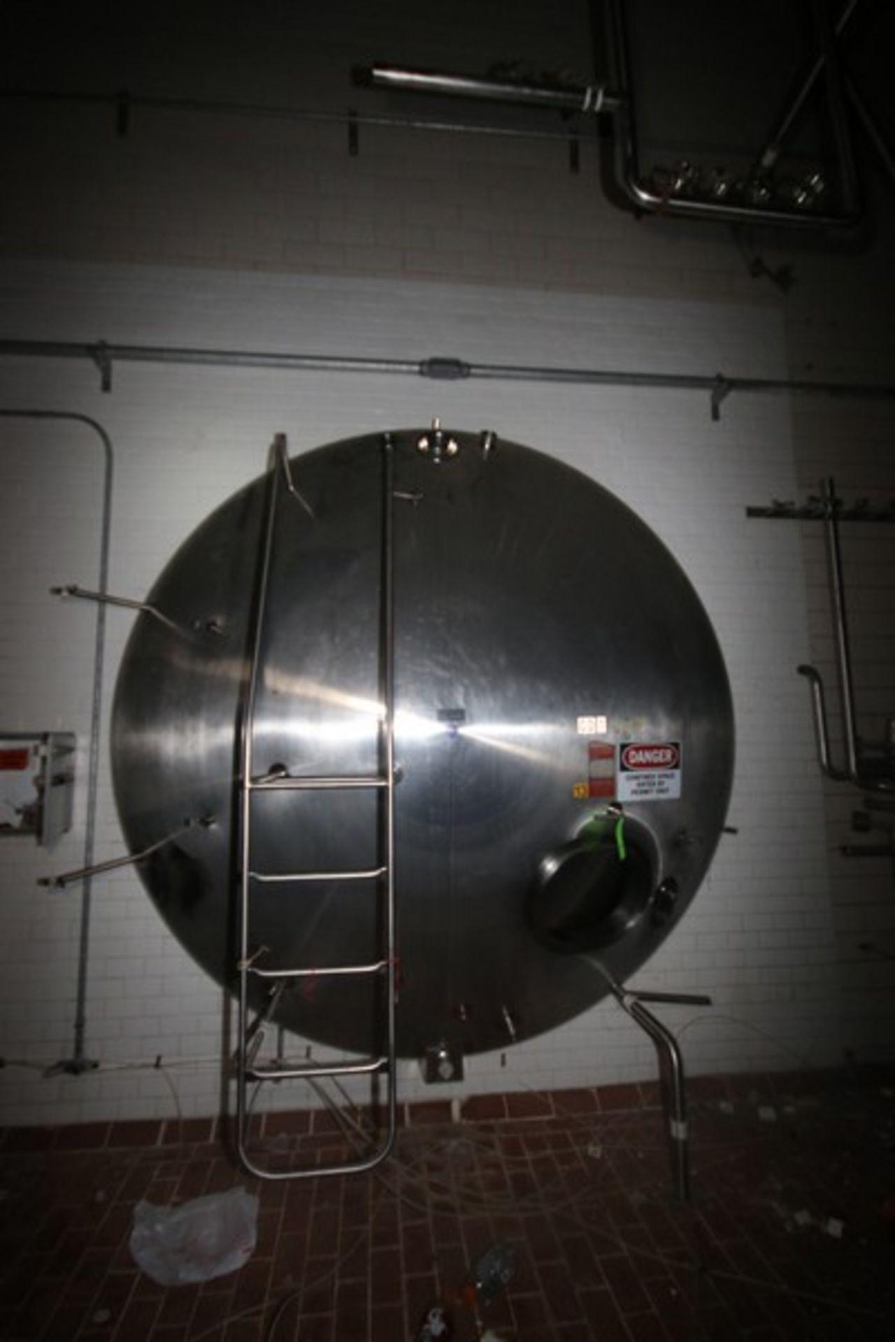 "Walker Aprox. 9,500 Gal. S/S Horizontal Tank, S/N 1520, Tank Dims.: Aprox. 108"" Diameter x 20' Long,"