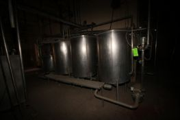Tri-Clover 4-Tank CIP System, with (2) Centrigual Pumps. Includes S/S Balance Tank, Control Panel, &