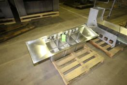 """Triple Bowl S/S Sink, Overall Dims.: Aprox. 62"""" L x 20"""" W (LOCATED IN MEDFORD, WI) (Rigging, Loading"""