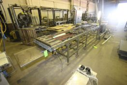 "4-Lane S/S Chain Conveyor, with Aprox. 2-3/4"" W Lanes, Overall Length: Aprox. 14' L, Mounted on S/"