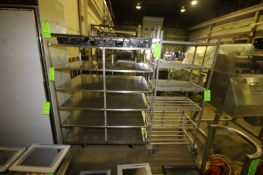 """Portable S/S Racks, 1-with (6) S/S Shelves, Overall Dims.: Aprox. 51-1/2"""" L x 39-1/2"""" W x 74"""""""