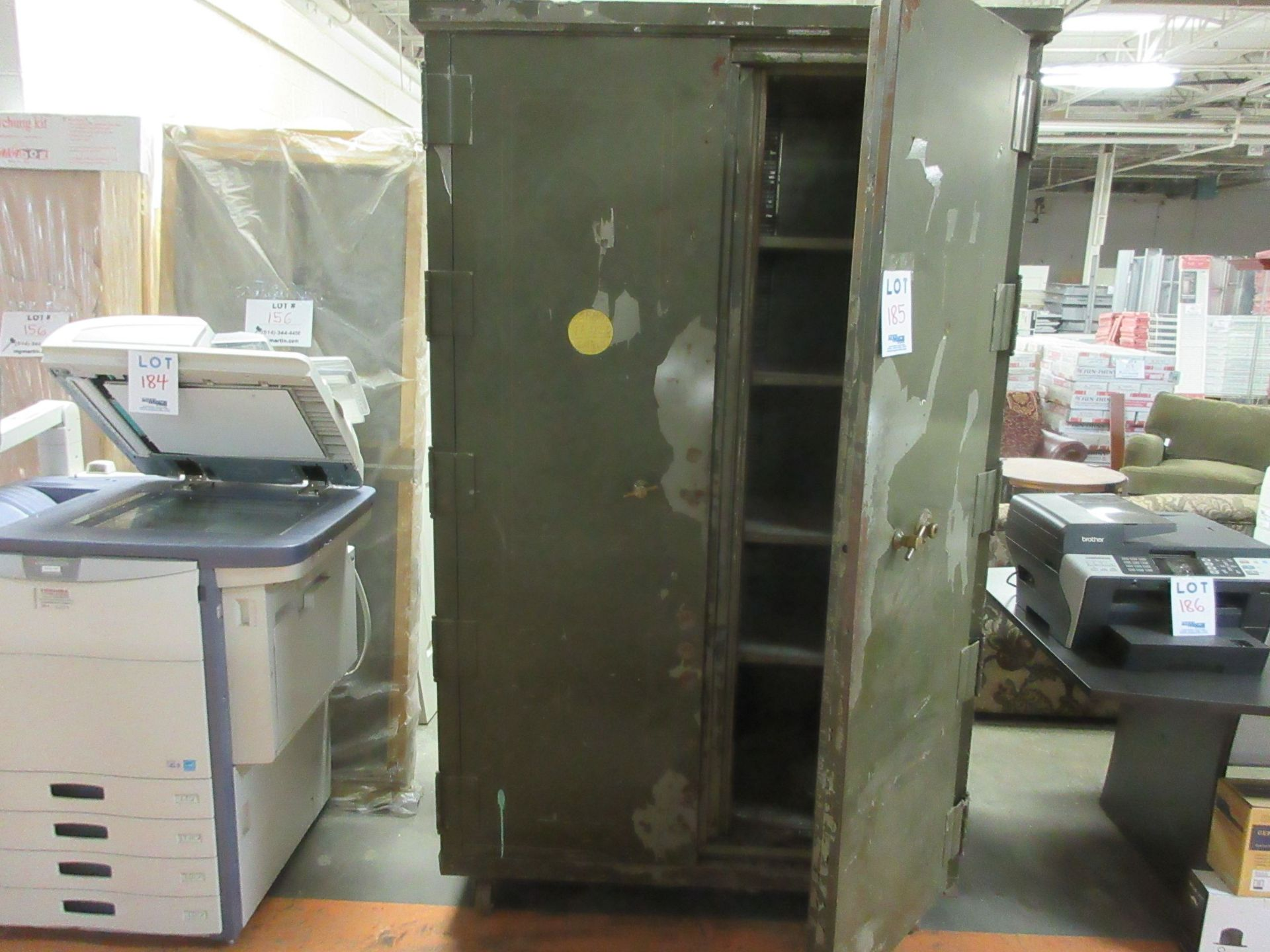 "Lot 185 - 2 Door safe on wheels 52""x 79""x 28""d"