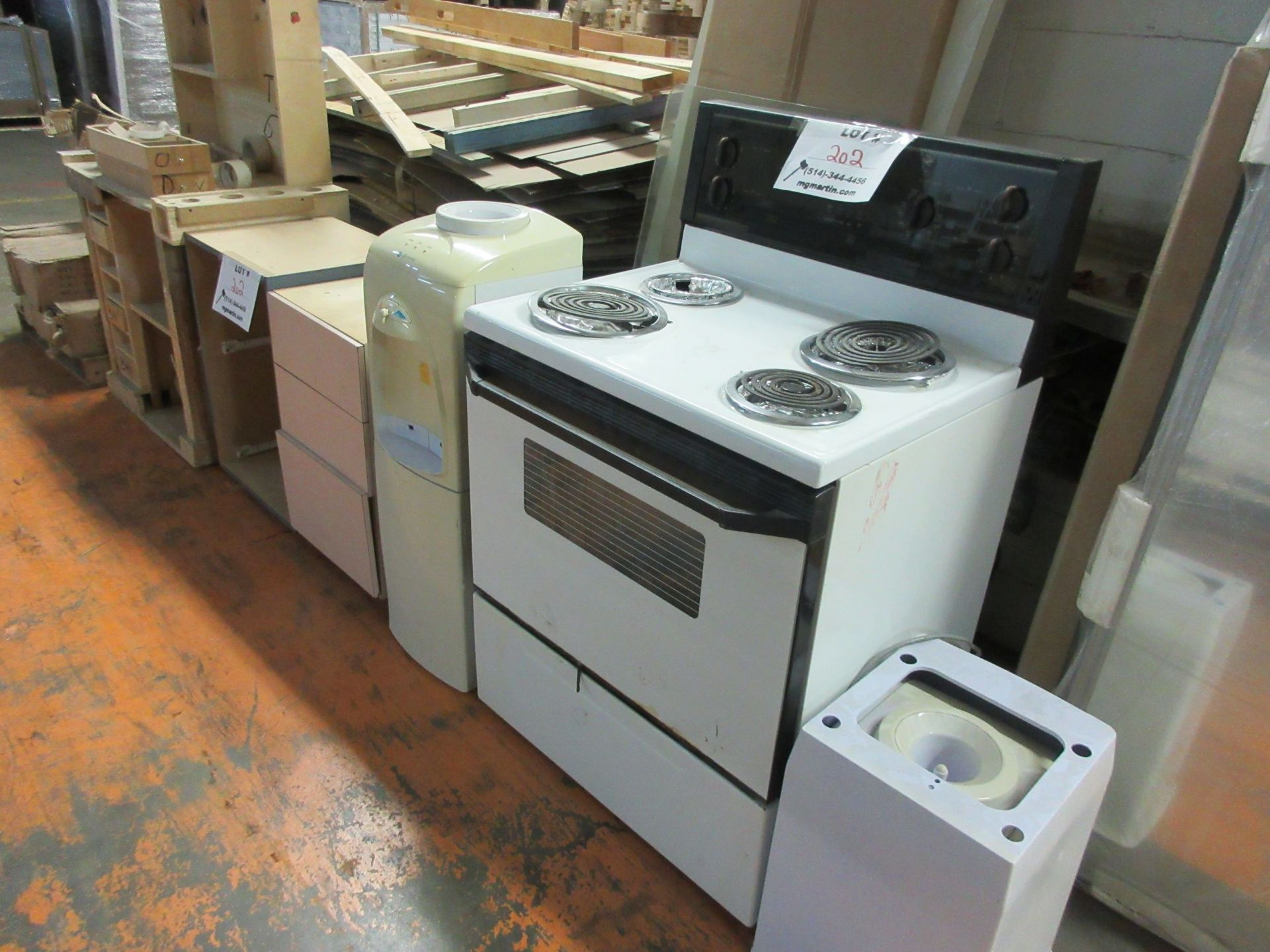 Lot 202 - LOT Including WHIRLPOOL oven, water coolers, cabinets, etc.