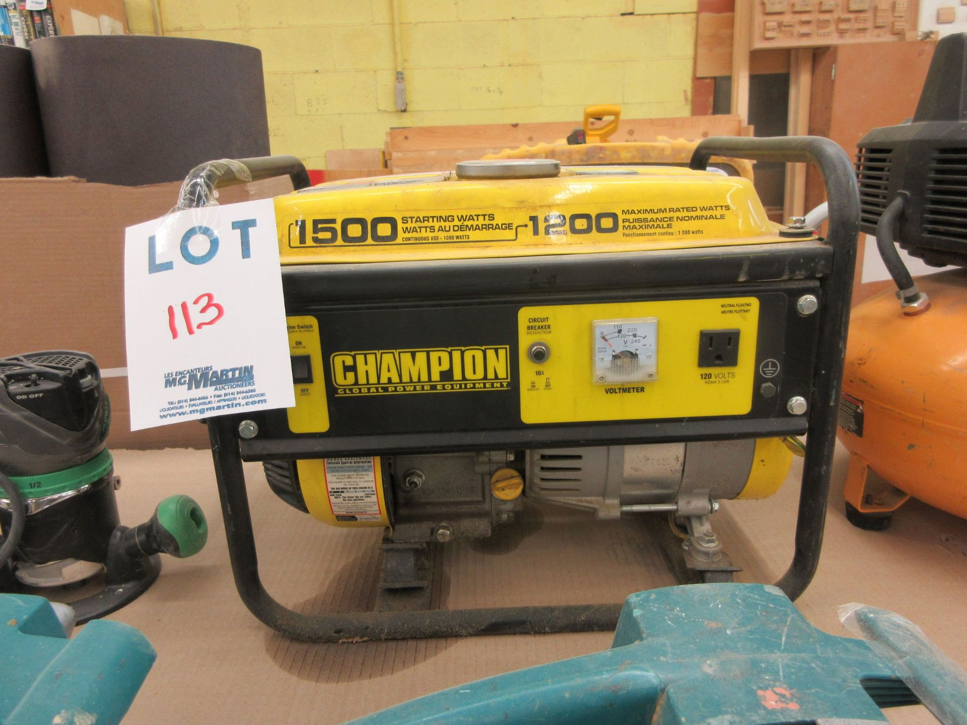 Lot 113 - CHAMPION 1500 watts generator