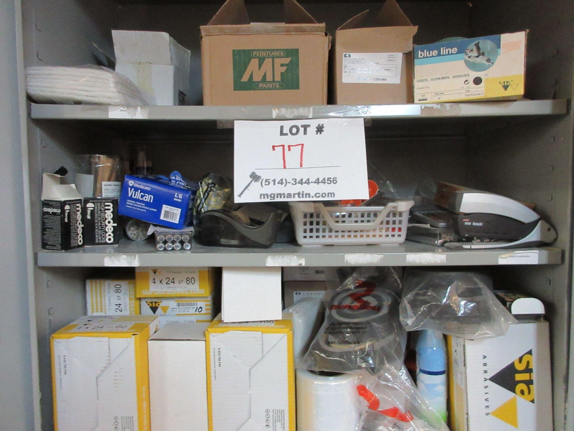LOT including cabinets, sandpaper, tape, etc. - Image 2 of 3