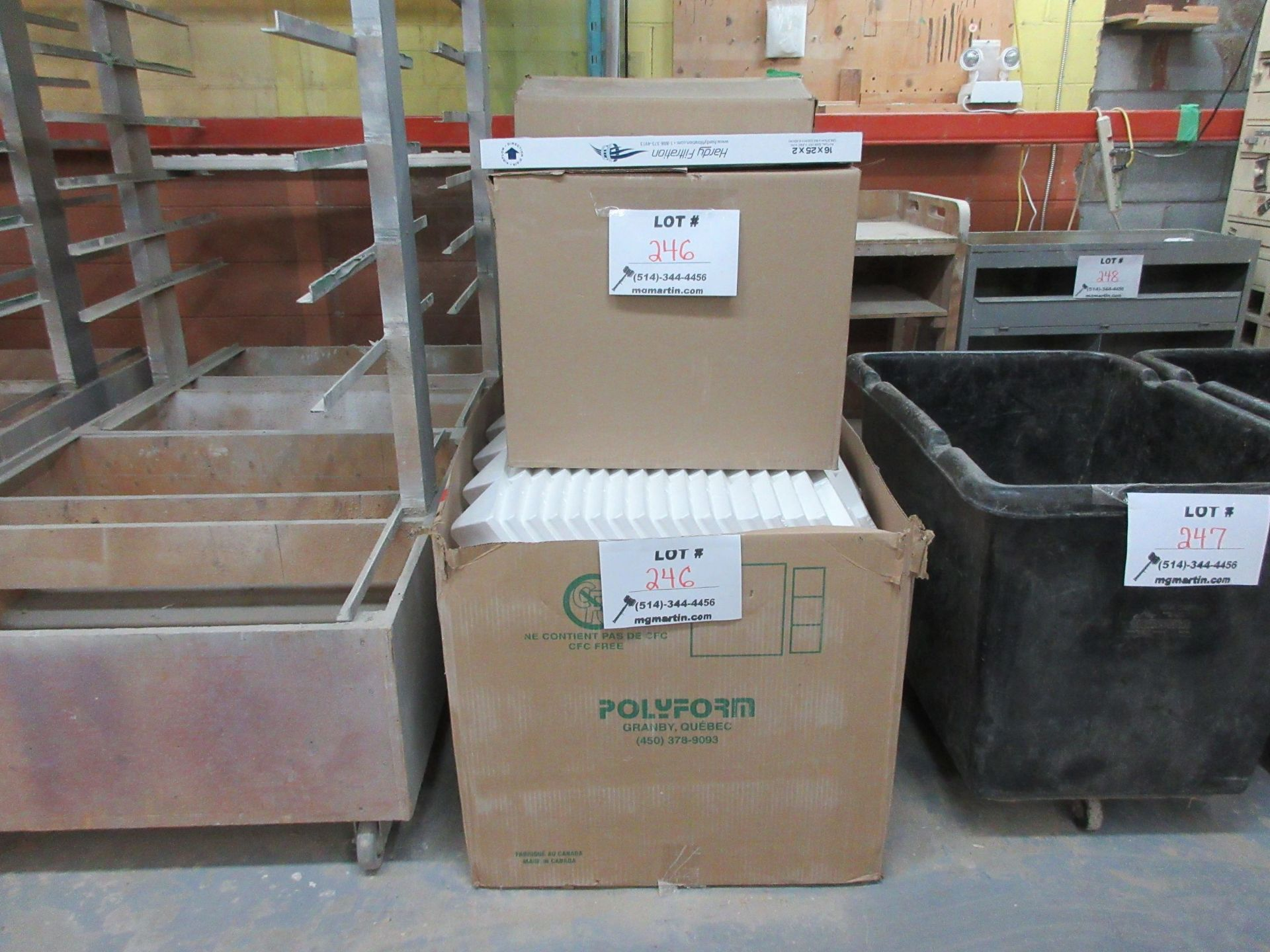 Lot 246 - LOT including styrofoam, filters, etc.