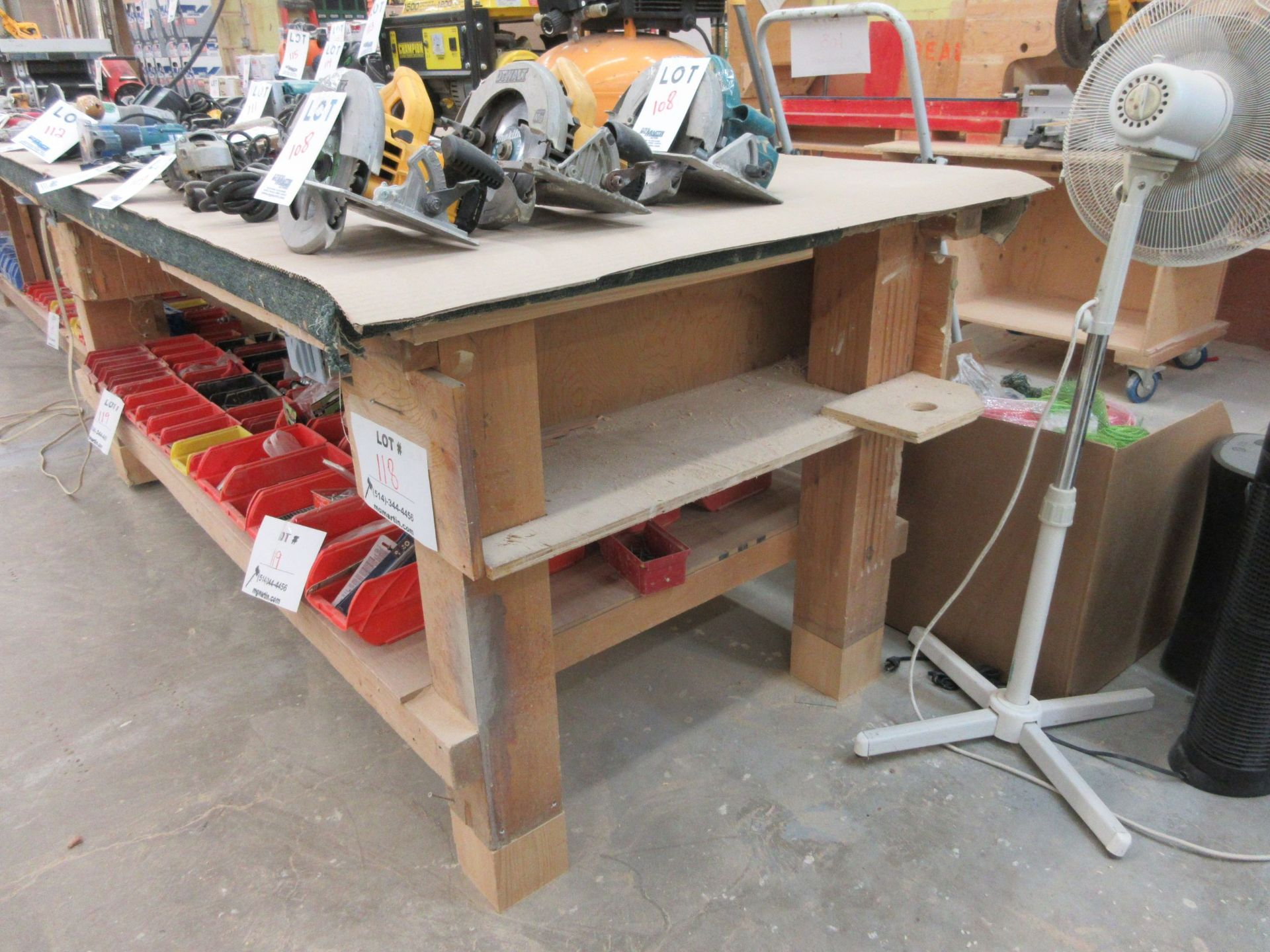 Lot 118 - Work tables c/w electrical outlets aprox 5ft x 8ft (2)