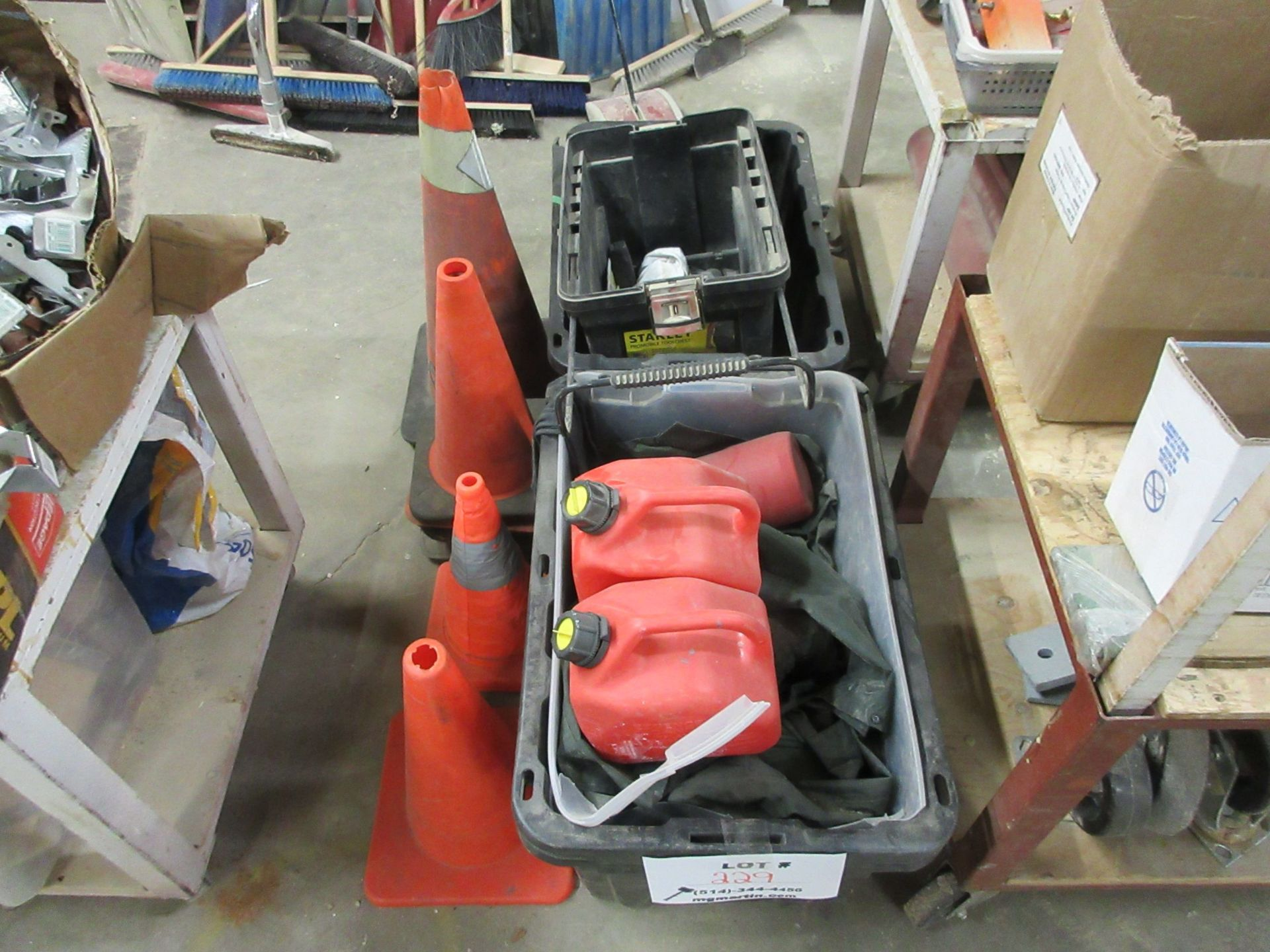 Lot 229 - LOT including tool boxes, cones, gas containers, etc.