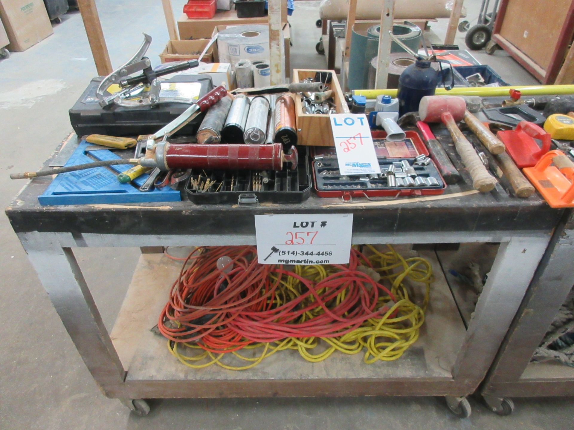 Lot 257 - LOT including assorted tools c/w cart on wheels