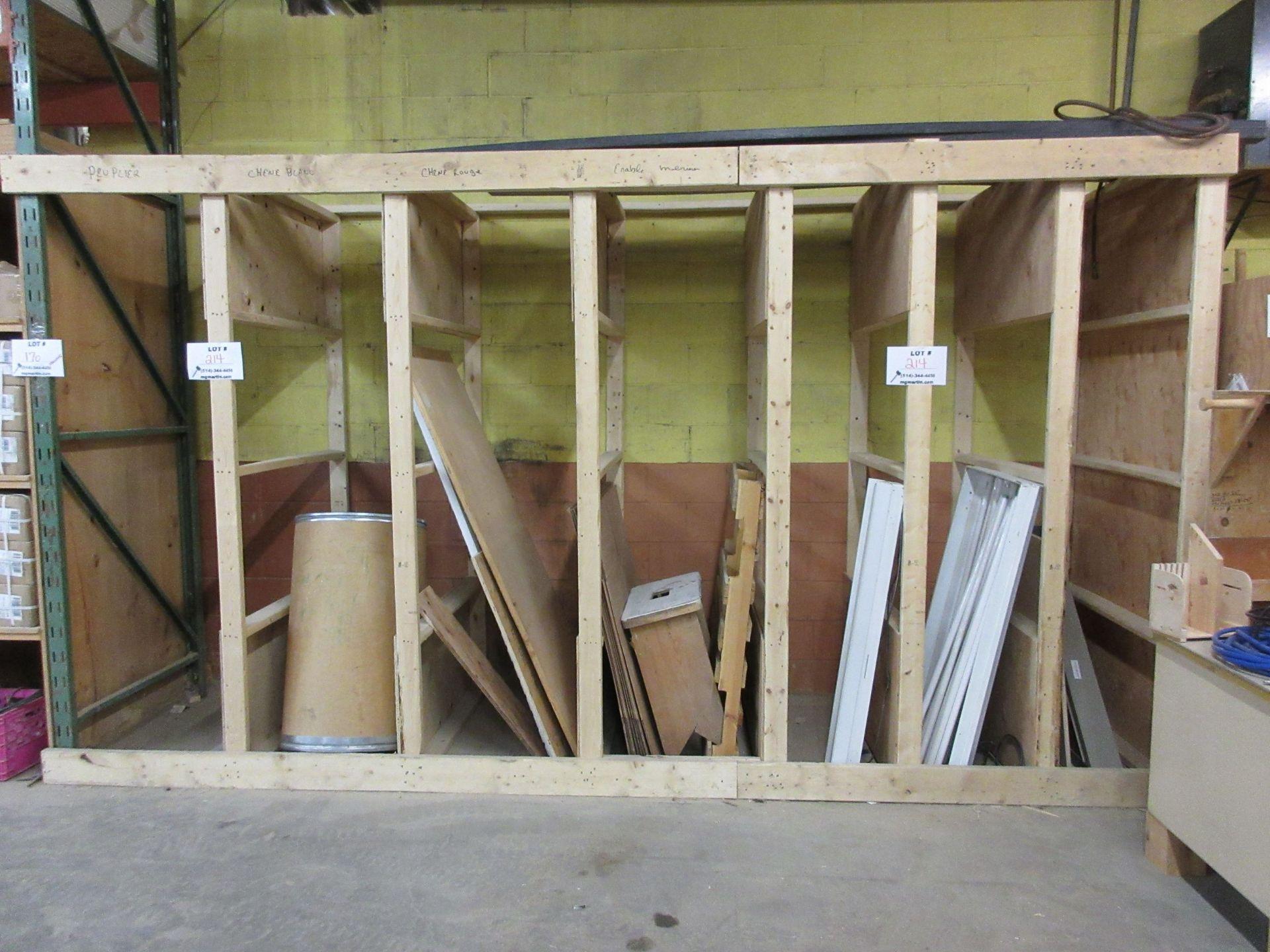 Lot 214 - LOT assorted racking, wood desk, etc.