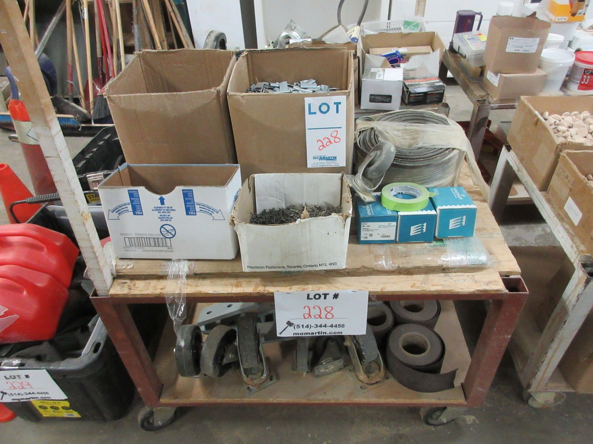 Lot 228 - LOT including assorted supplies c/w cart on wheels