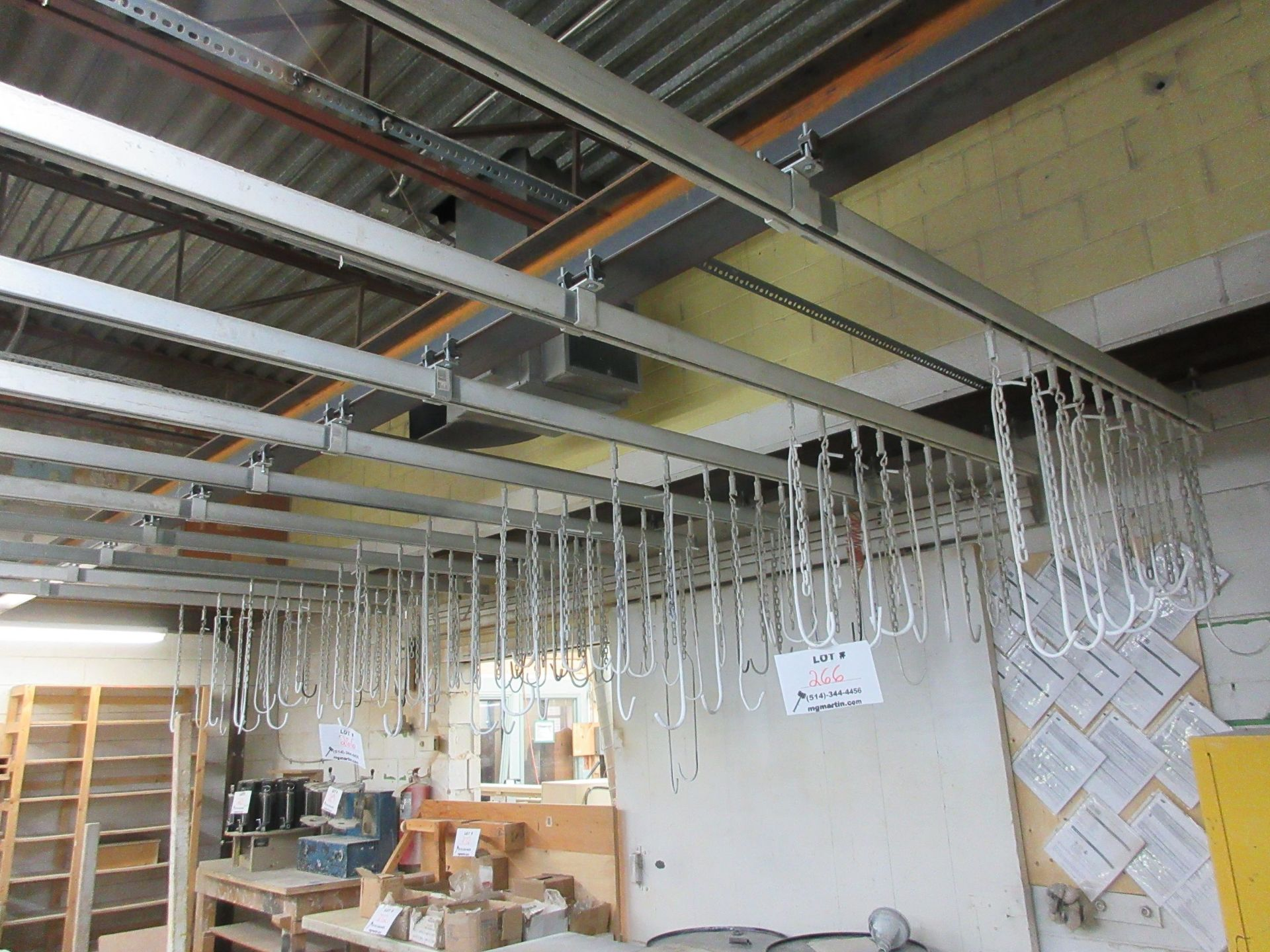Lot 266 - LOT including suspending rails (for painting) c/w aprox 100 hooks (rails 10 x 30 ft aprox)