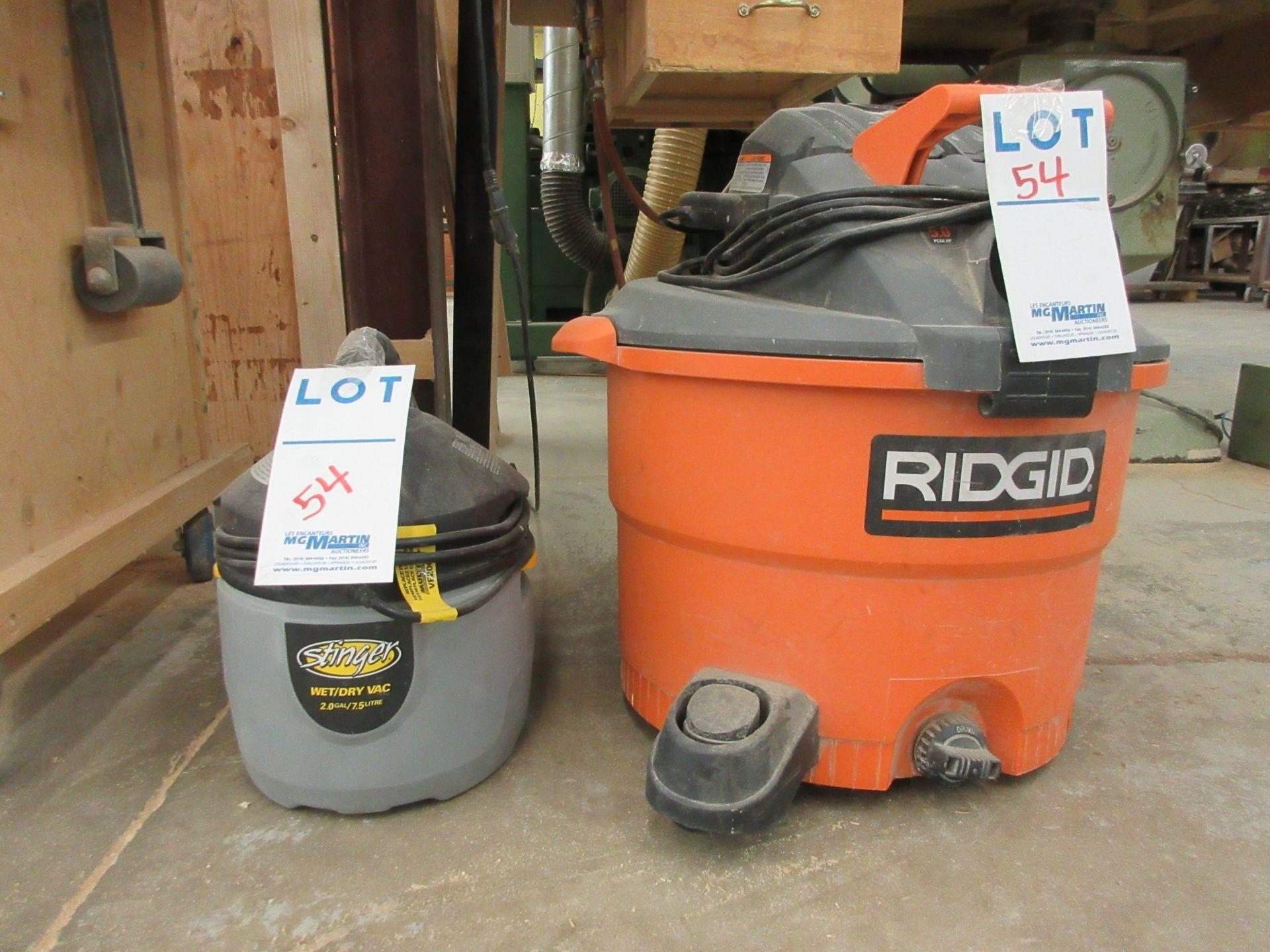 Lot 54 - LOT including RIDGID STINGER vacuums