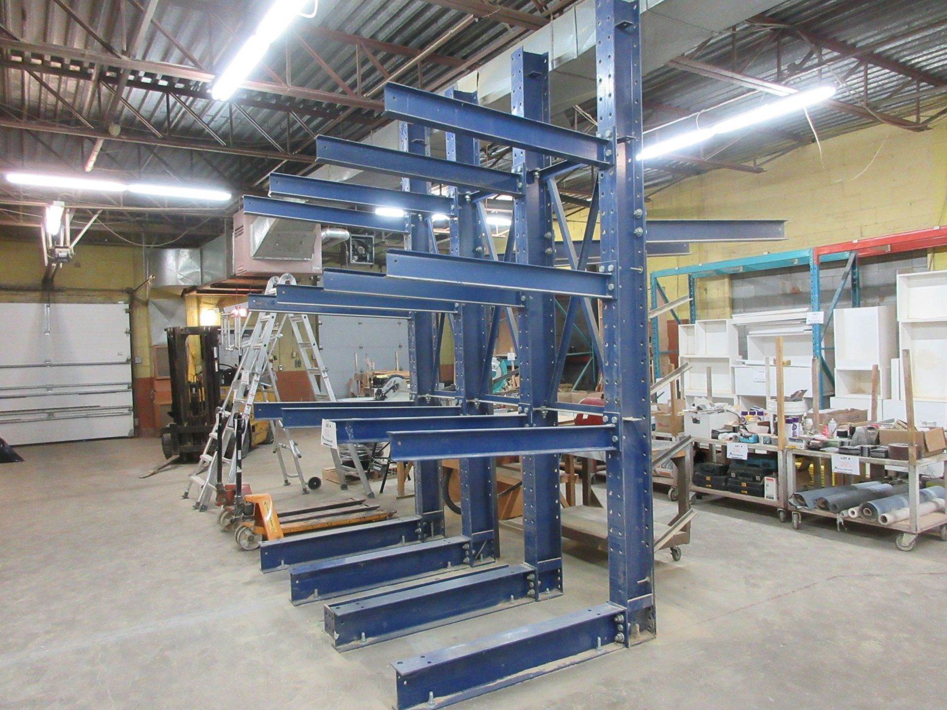 """Lot 53 - CANTILEVER 2 sided heavy duty industrial wood racking 101""""w x 139"""" h x 60"""" d"""