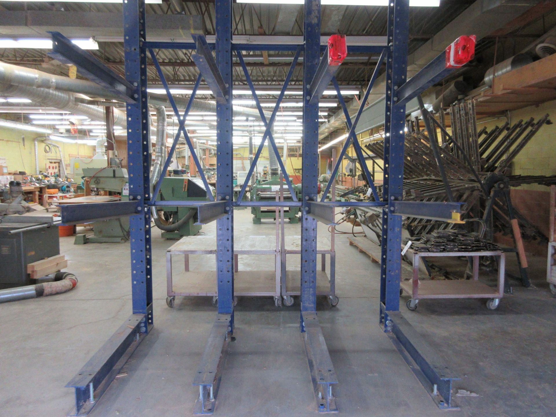 """Lot 52 - CANTILEVER Heavy duty industrial wood racking 101""""w x 139"""" h x 60"""" d"""