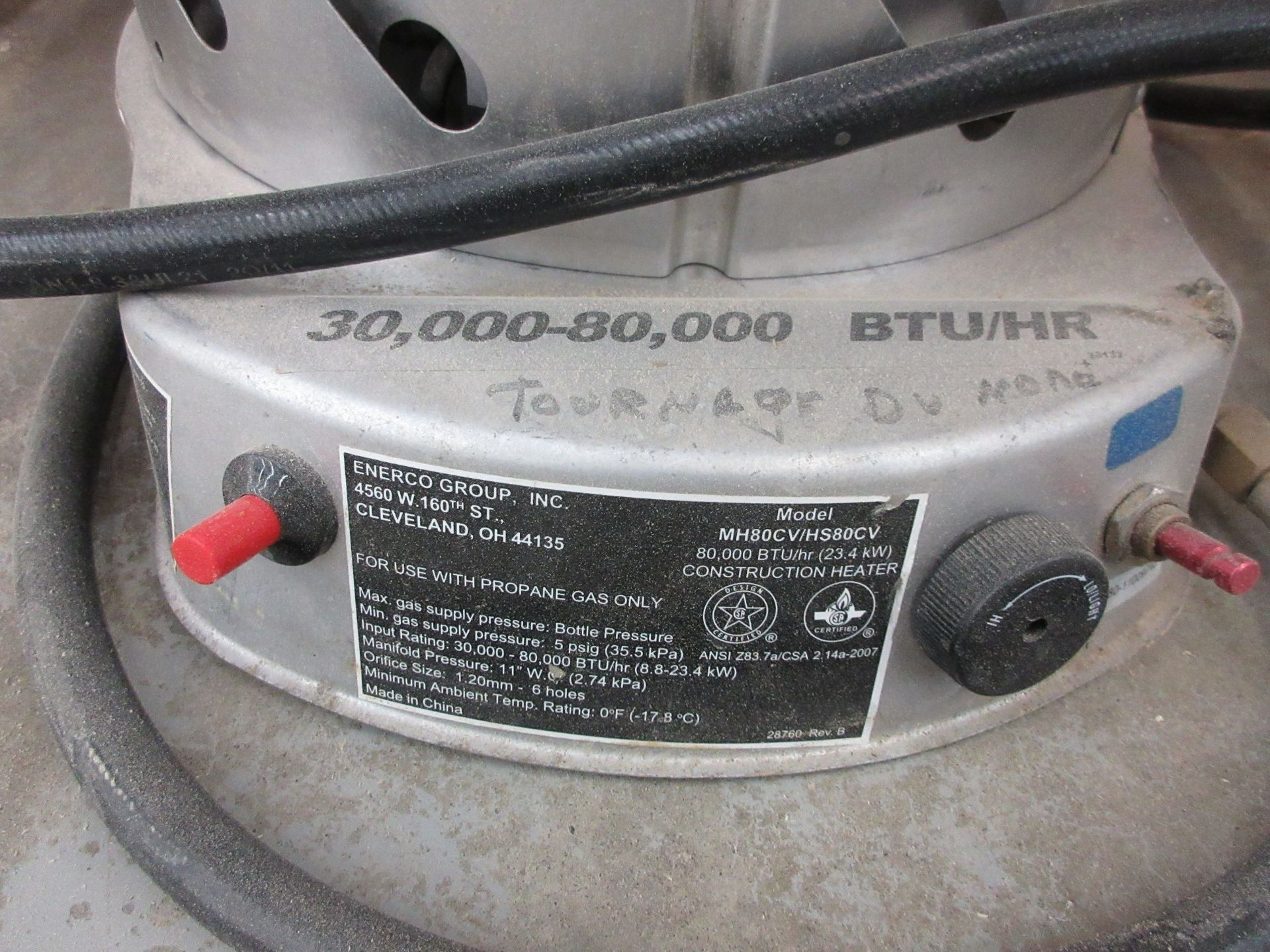 Lot 57 - Propane heater 30,000 to 80,000 BTU