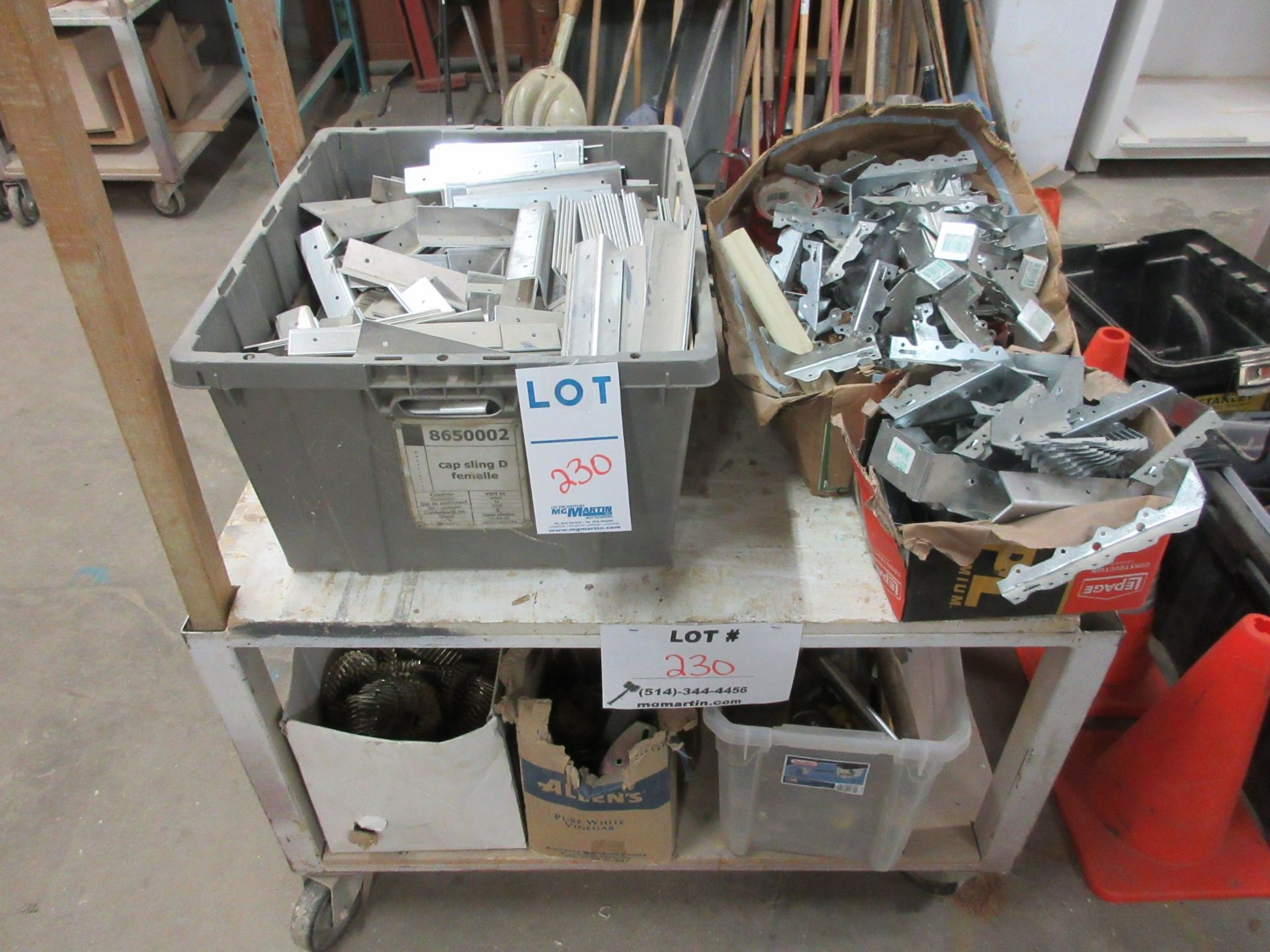 Lot 230 - LOT including assorted supplies c/w cart on wheels