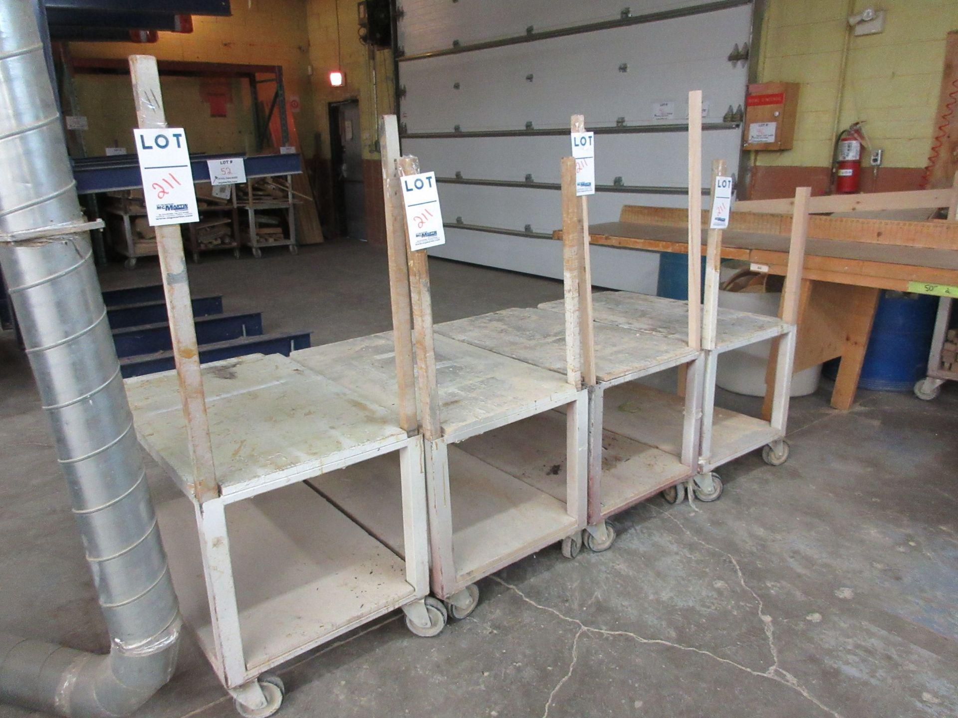 "Lot 211 - Work carts on wheels aprox 40"" x 24"" (4)"