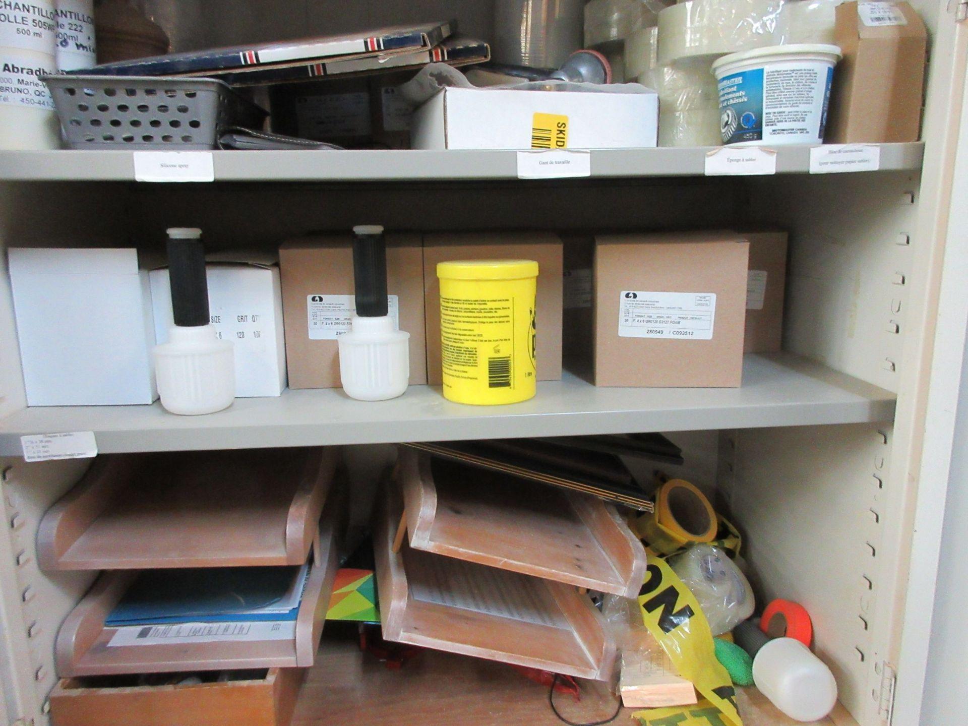 LOT including cabinets, sandpaper, tape, etc. - Image 3 of 3