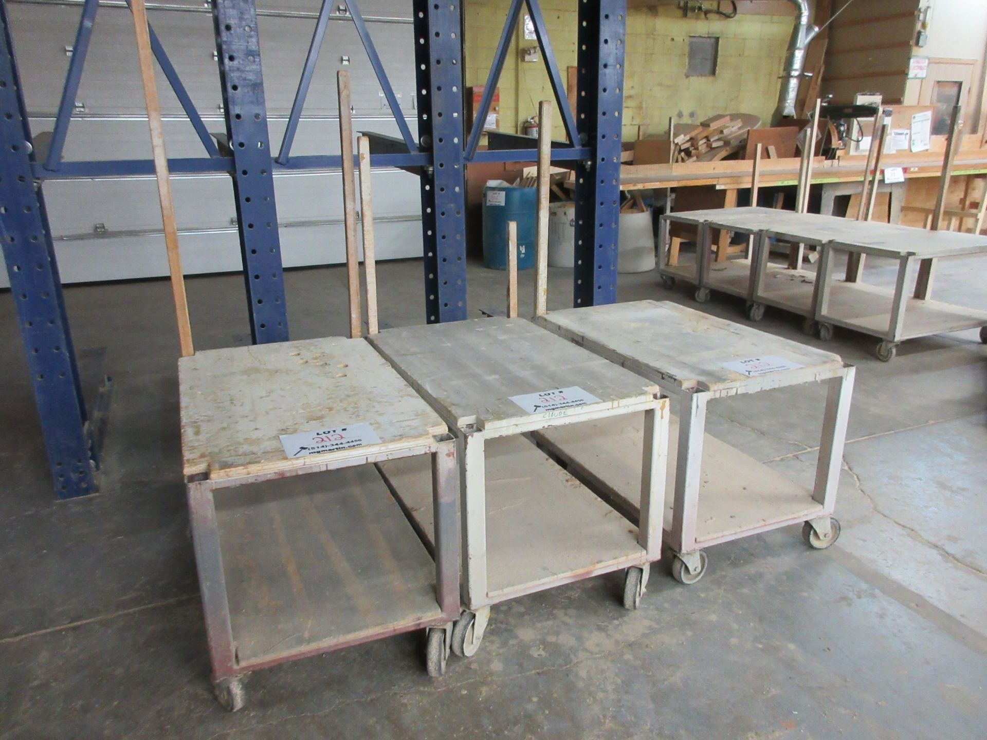 "Lot 212 - Work carts on wheels aprox 40"" x 24"" (3)"