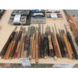 LOT including 32 assorted chisels, etc.
