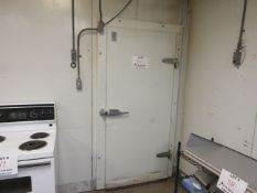 "Walk in freezer w/t BLANCHARD-NESS cooling unit with (2) fans c/w aprox. 94"" w x 86""d x 103"" h"