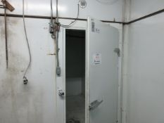"Walk in freezer w/t BLANCHARD-NESS cooling unit with (2) fans c/w compressor aprox. 87 1/2"" w x 94"