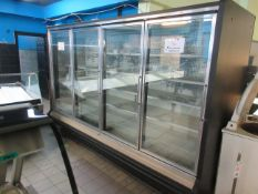 "(4) glass door freezer w/t compressor 10 1/2 ft w x 41""d x 83""h"