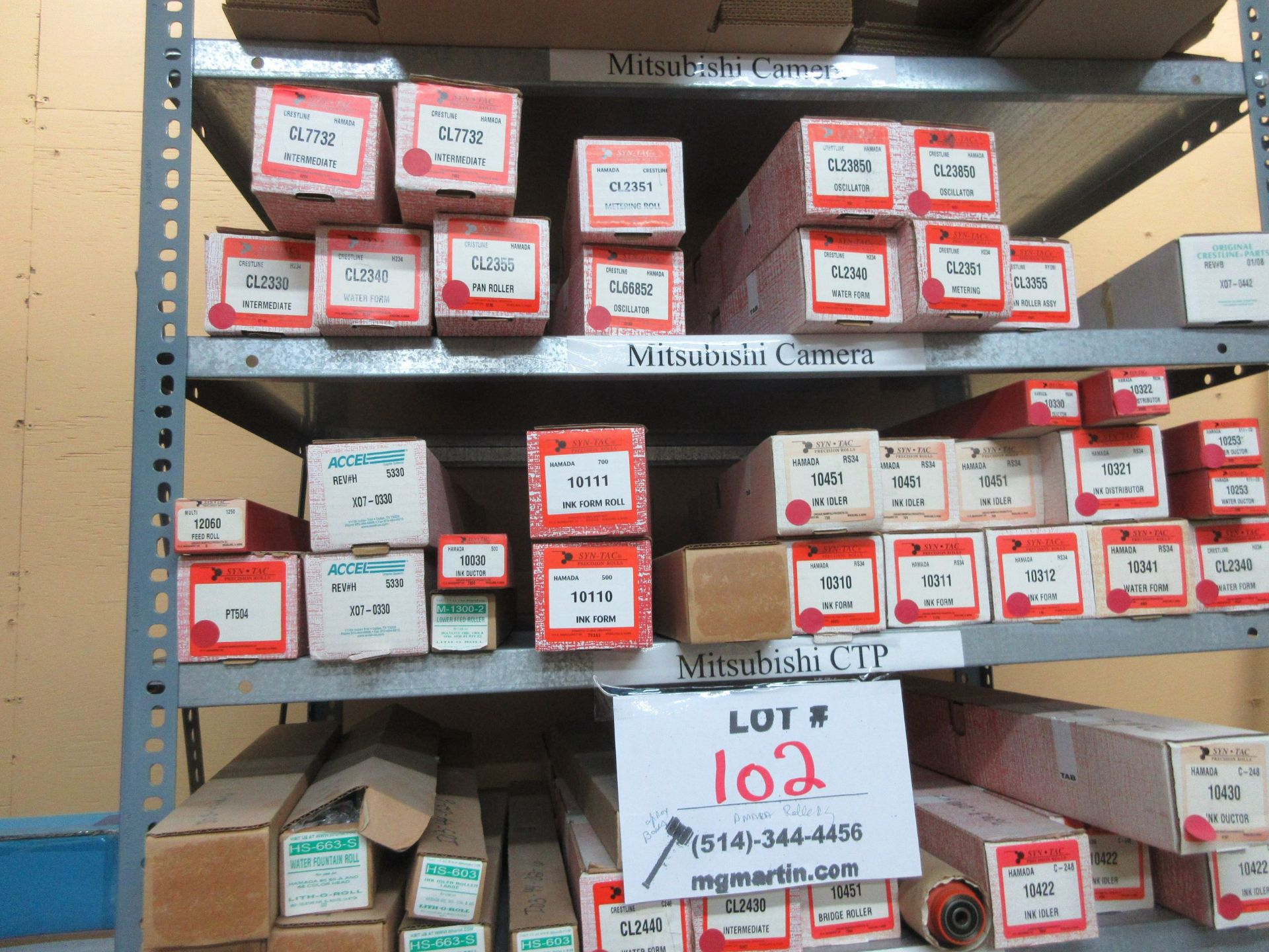 Lot 102 - LOT Including boxes of assorted rollers for HAMADA (approx. Qty 100 boxes)