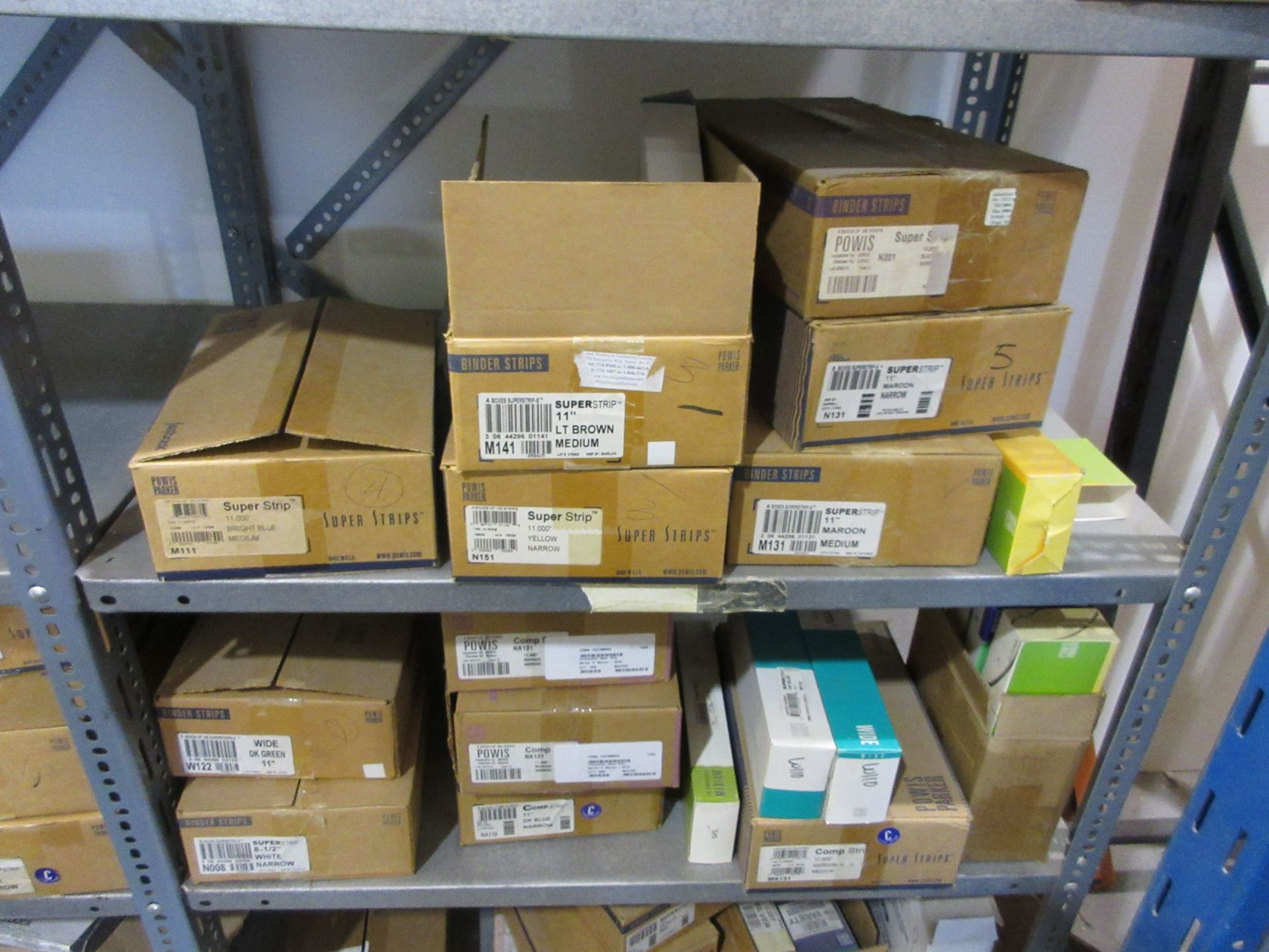 Lot 123 - LOT Including assorted parts, ink, strips, toner, binding tape, etc. (approx. qty 46 boxes)